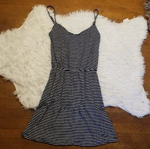 J crew striped navy mini dress swing xs